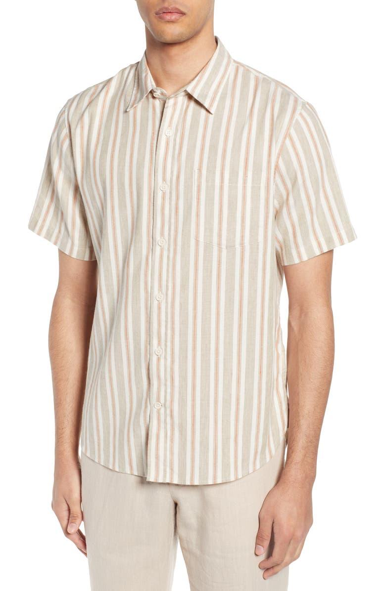 VINCE Multi Stripe Slim Fit Short Sleeve Shirt, Main, color, KODAK