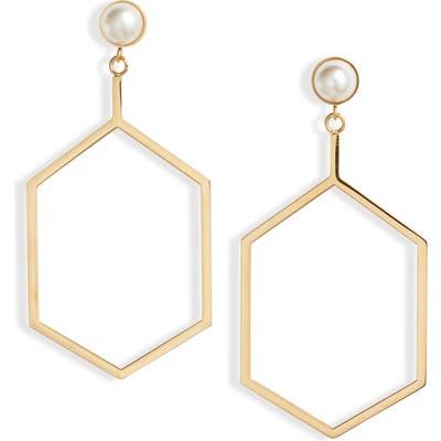 Knotty Hexagon Imitation Pearl Drop Earrings