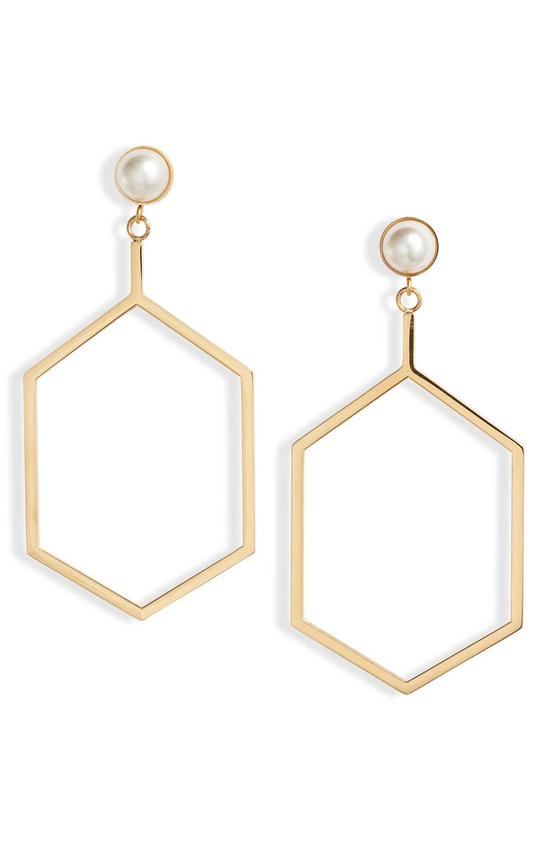 KNOTTY Hexagon Imitation Pearl Drop Earrings, Main, color, GOLD/ PEARL