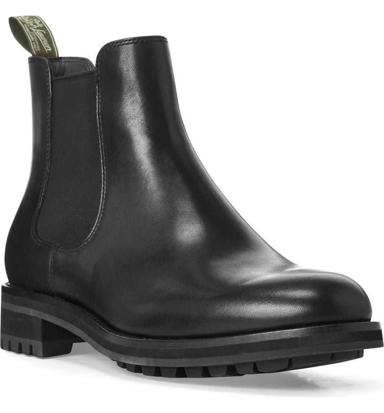 POLO RALPH LAUREN Bryson Chelsea Boot, Main, color, BLACK LEATHER