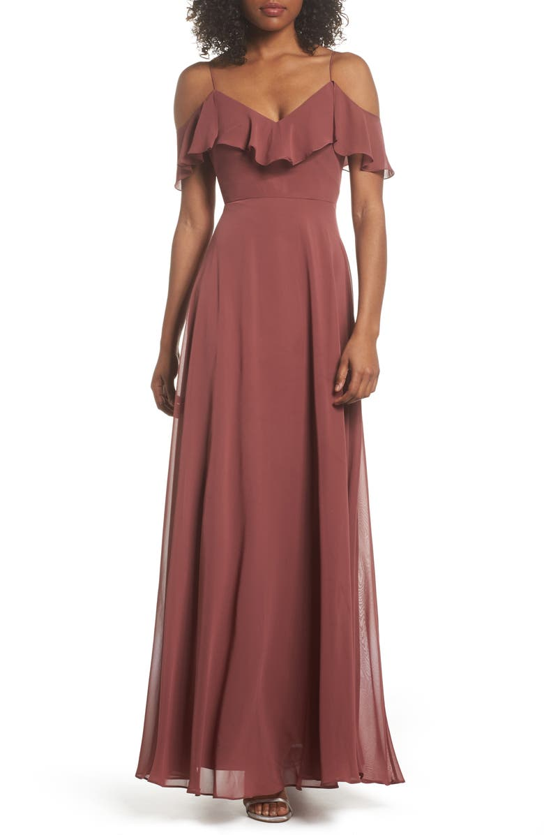 JENNY YOO Cold Shoulder Chiffon Gown, Main, color, CINNAMON ROSE