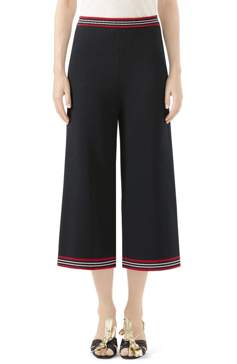 GUCCI Stripe Trim Wool & Cotton Knit Crop Pants, Main, color, BLACK/ RED/ IVORY