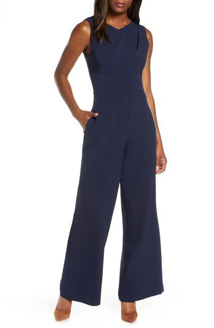 Image of Donna Ricco Sleeveless Crepe Jumpsuit
