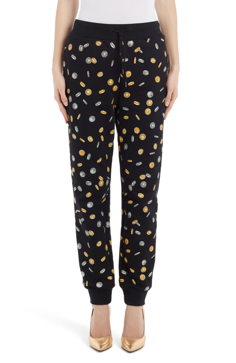 MOSCHINO Coin Print Joggers, Main, color, BLACK