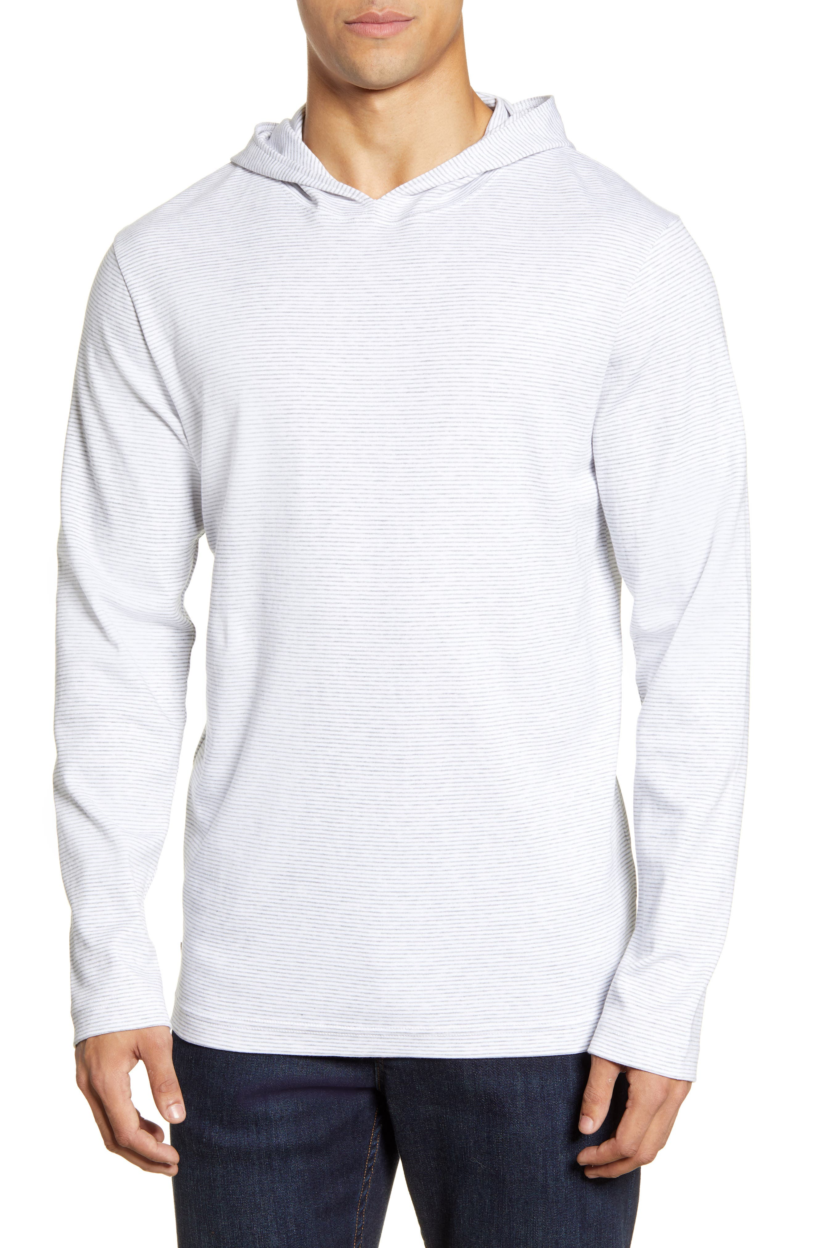 Image of TRAVIS MATHEW Long Valley Striped Hooded Long Sleeve T-Shirt