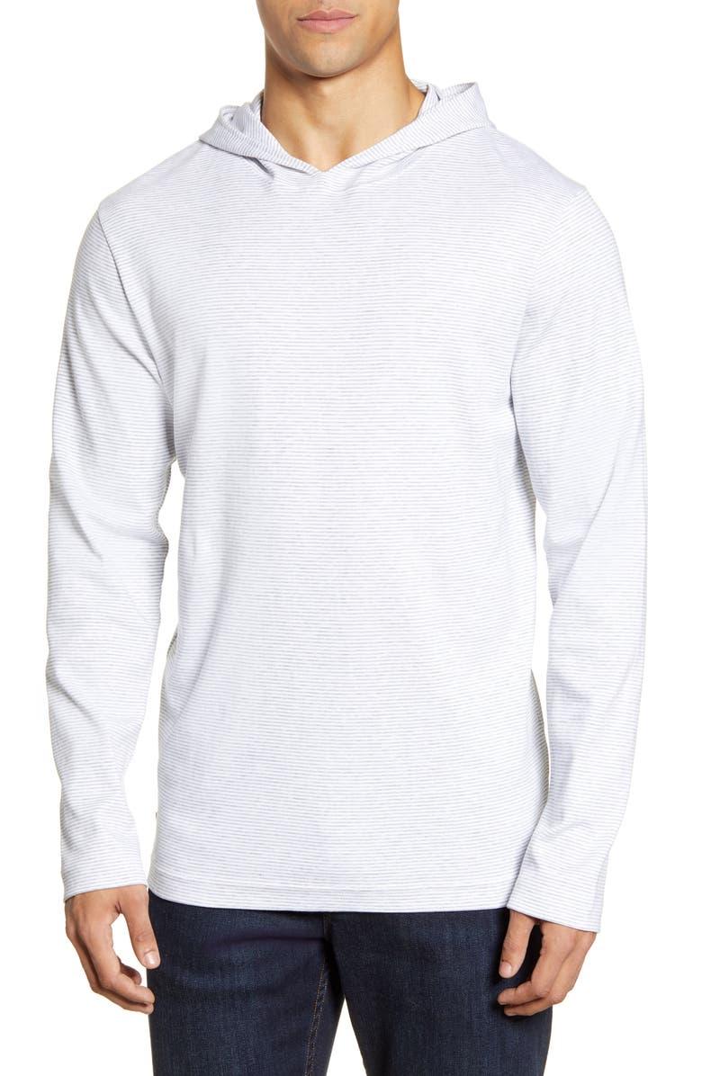 TRAVISMATHEW Long Valley Stripe Pullover Hoodie, Main, color, WHITE/ GREY
