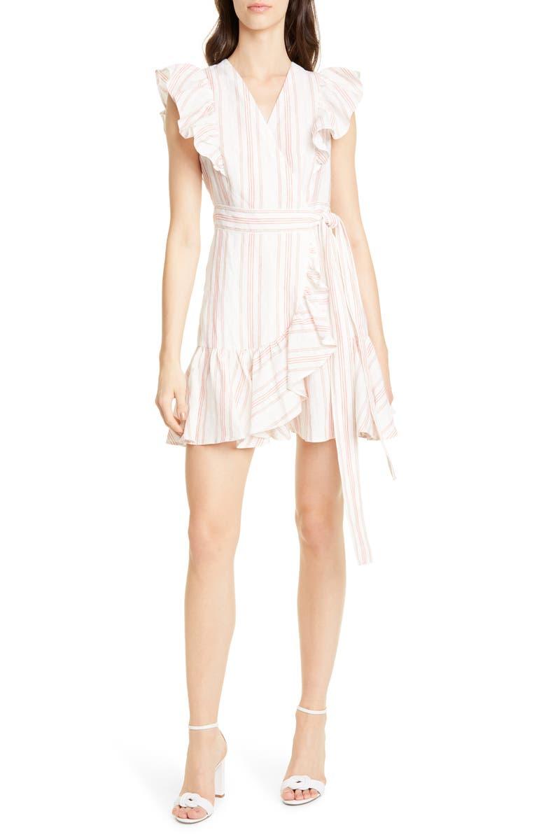 REBECCA TAYLOR Stripe Ruffle Sleeveless Linen Wrap Dress, Main, color, SNOW
