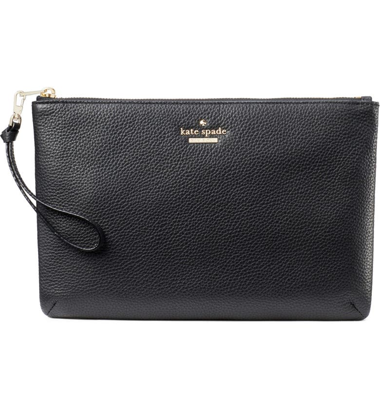 KATE SPADE NEW YORK jackson street – finley quilted leather clutch, Main, color, 001
