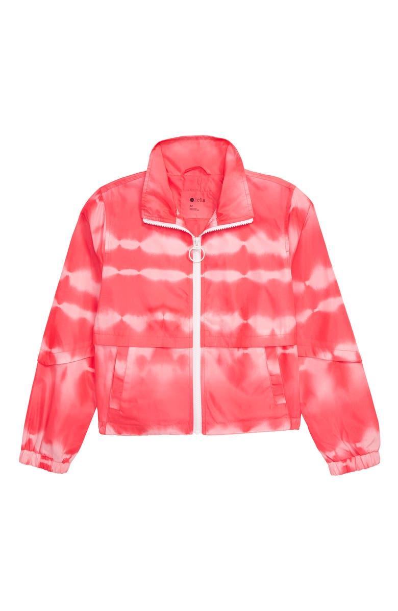 ZELLA GIRL Print Active Zip Jacket, Main, color, CORAL TYE DYE