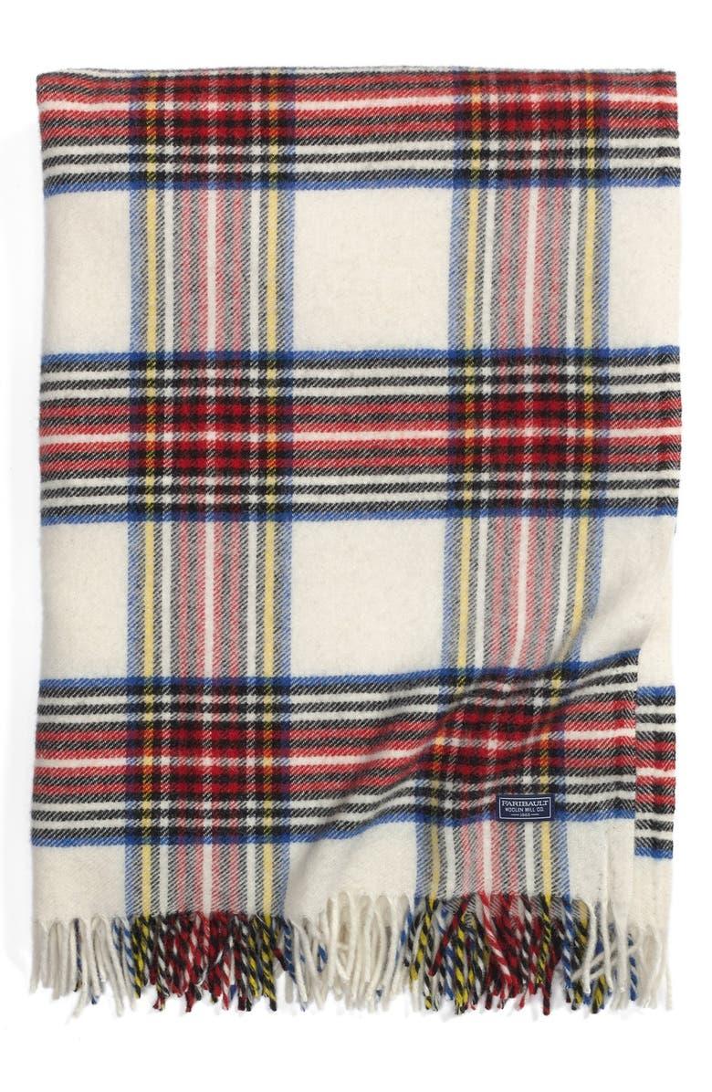 FARIBAULT WOOLEN MILL 'Royal Carefree Stewart' Plaid Wool Throw, Main, color, 600