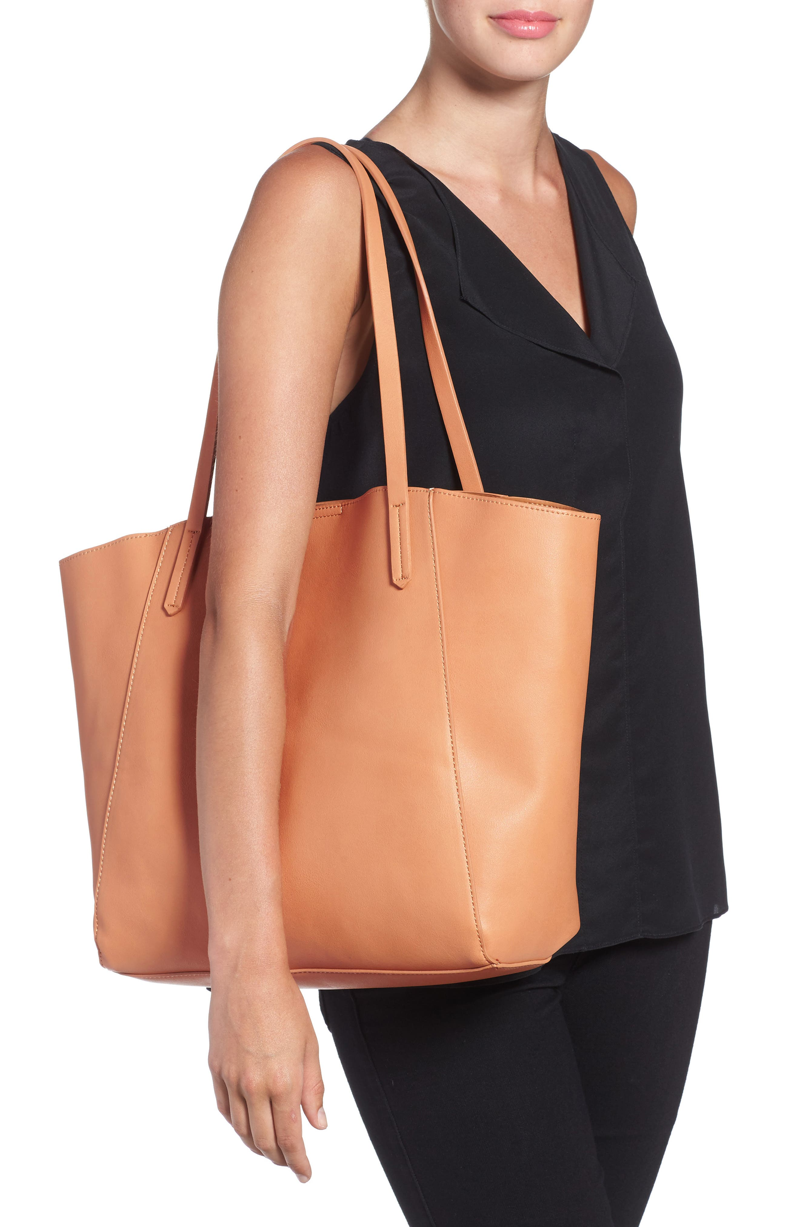 ,                             Colorblock Faux Leather Tote,                             Alternate thumbnail 16, color,                             210