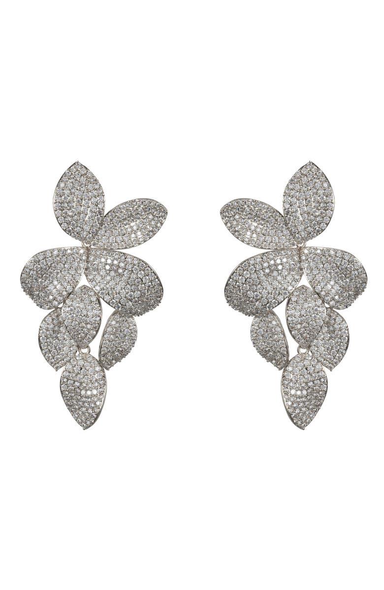 NINA Floral Pavé Earrings, Main, color, SILVER/ WHITE