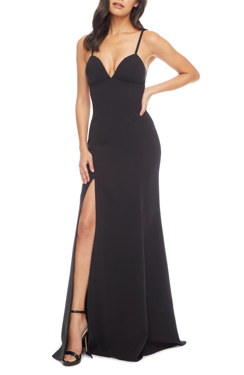 DRESS THE POPULATION Alejandra Crepe Evening Gown, Main, color, BLACK