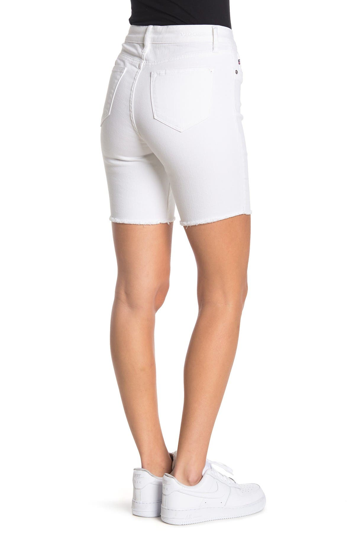 Image of Vigoss White Ace High Rise Bermuda Shorts