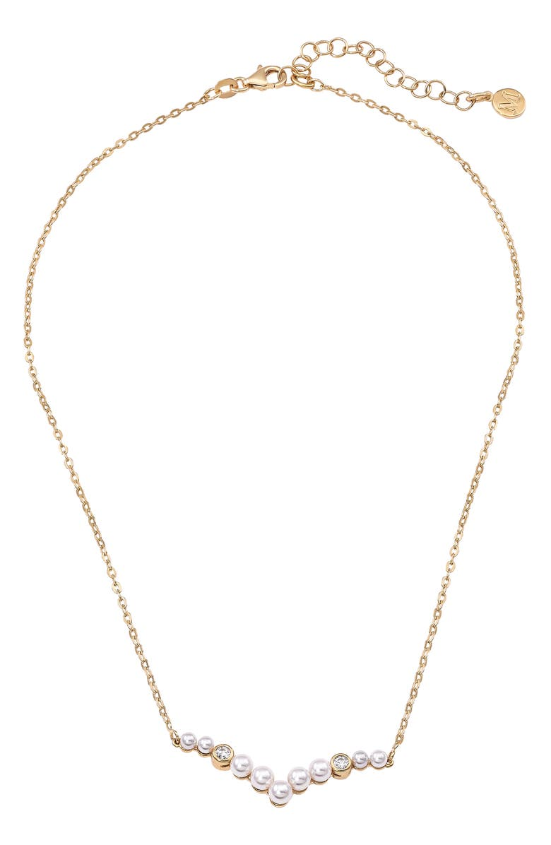 MAJORICA Simulated Pearl & Cubic Zirconia Necklace, Main, color, GOLD