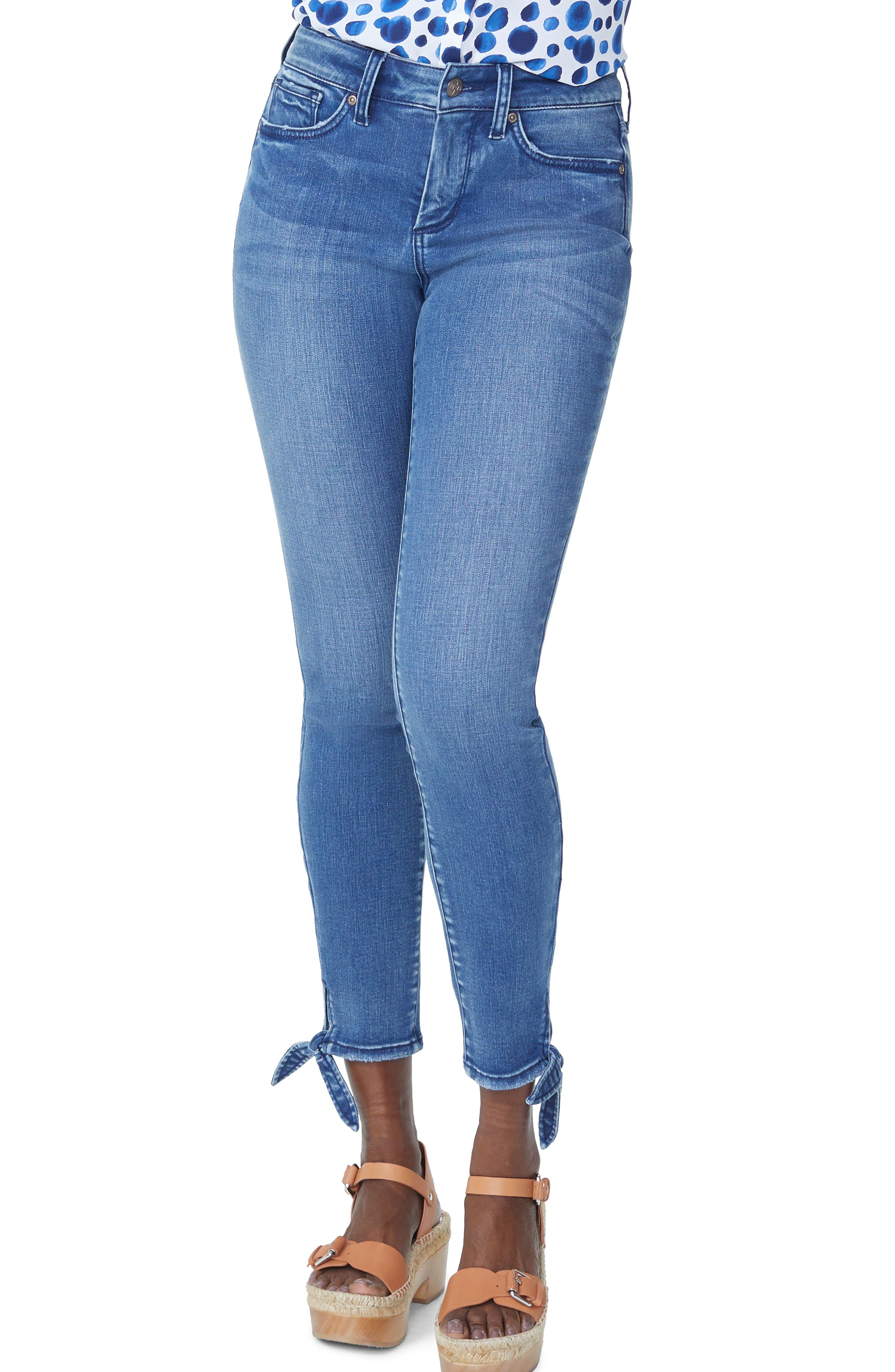 Image of NYDJ Ami High Waist Tie Hem Ankle Skinny Jeans