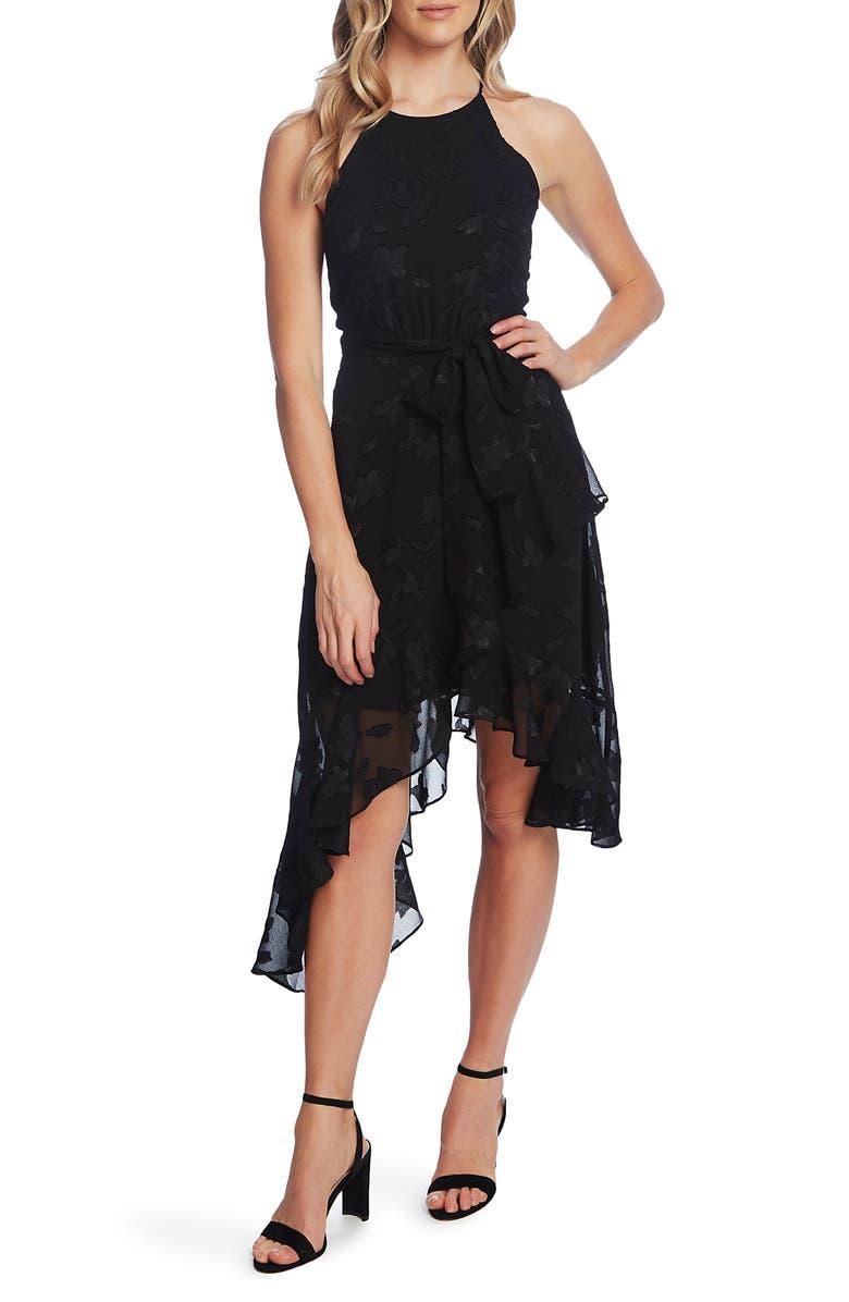 CECE Sleeveless Floral Lace Ruffle Dress, Main, color, RICH BLACK