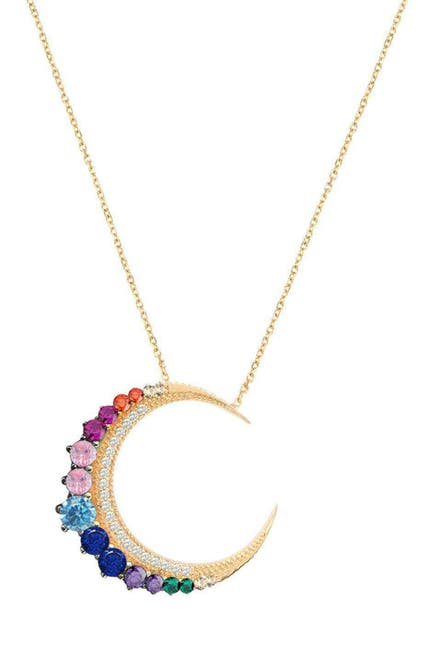 Image of Gabi Rielle 14K Yellow Gold Vermeil Rainbow CZ Celestial Moon Pendant Necklace