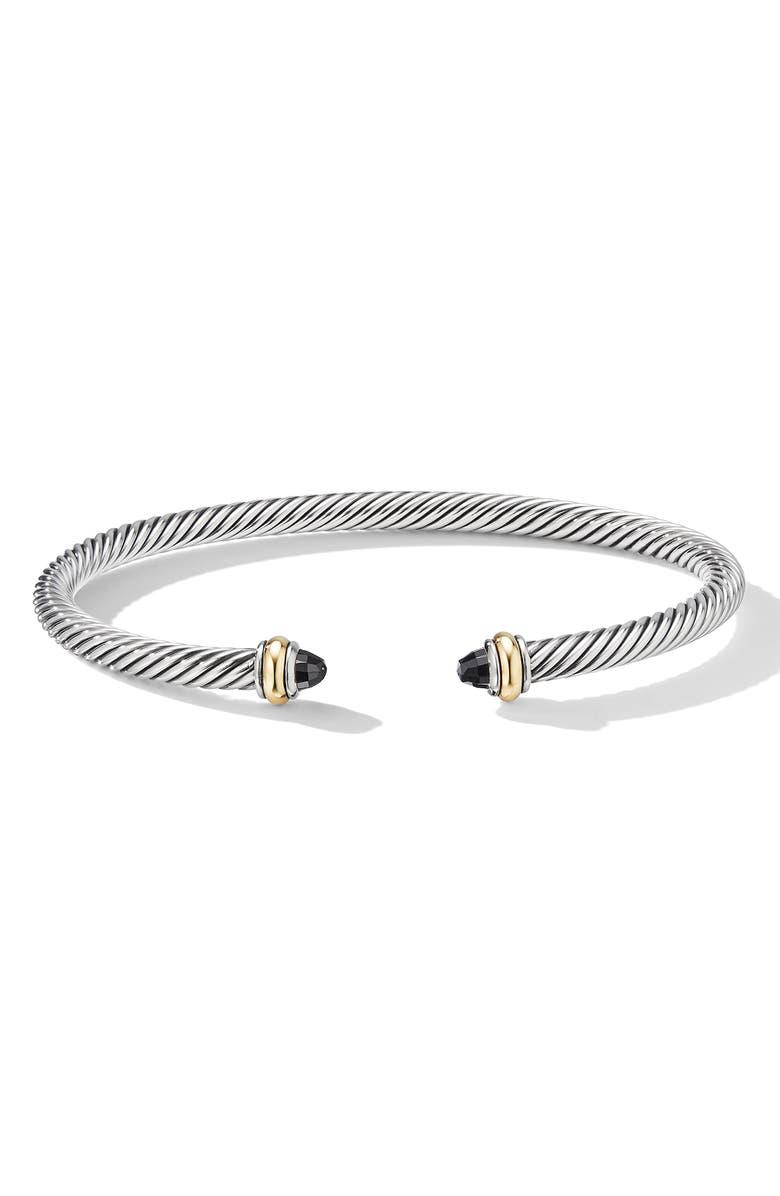 DAVID YURMAN 4mm Cable Classic Bracelet with 18K Gold & Semiprecious Stones, Main, color, BLACK ONYX