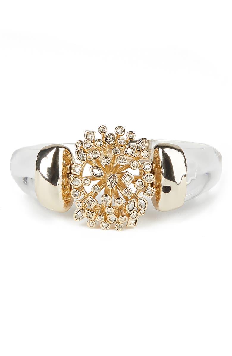 ALEXIS BITTAR Crystal Burst Hinge Bracelet, Main, color, CLEAR