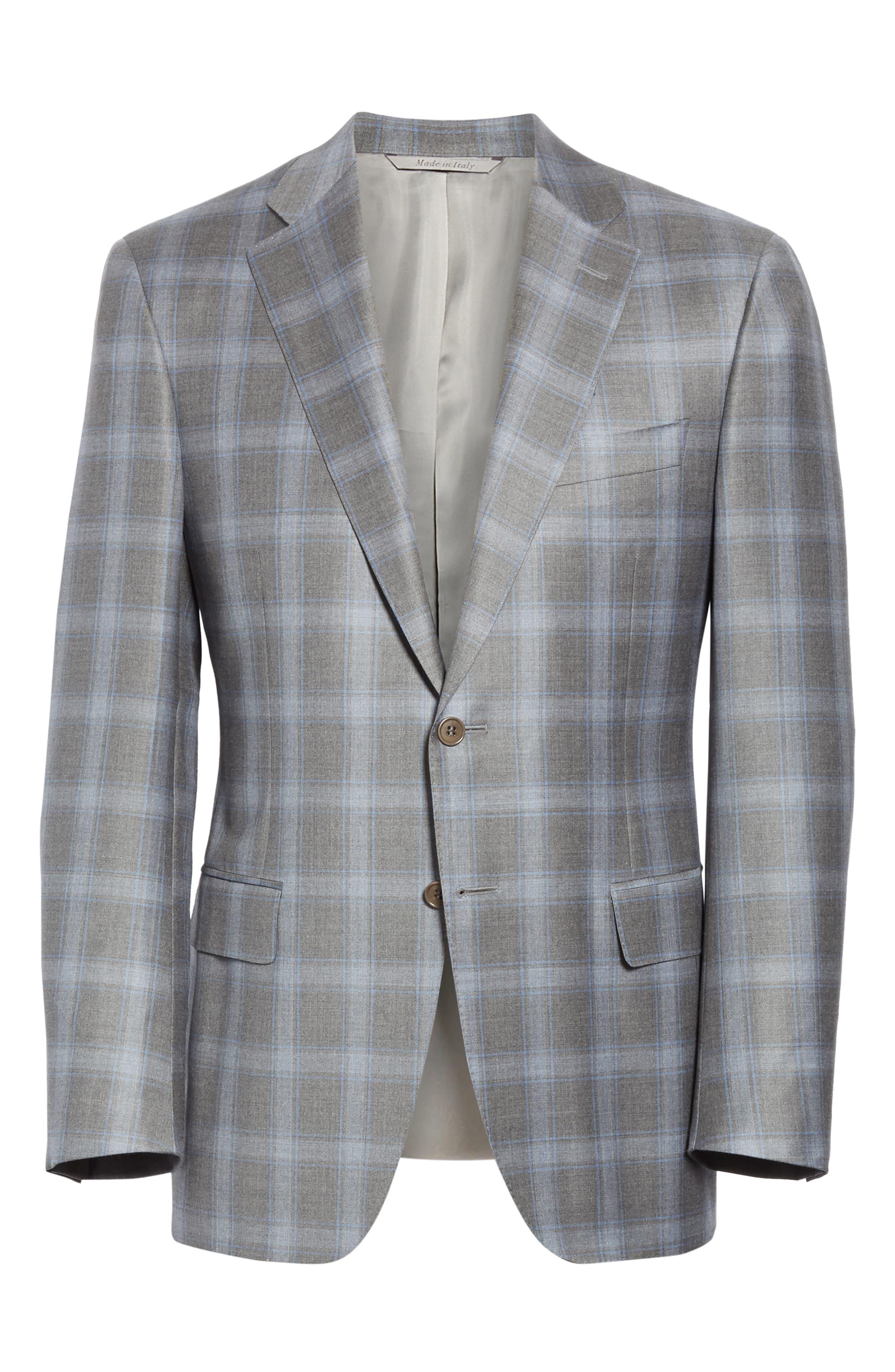 ,                             Sienna Classic Fit Plaid Wool Sport Coat,                             Alternate thumbnail 6, color,                             GREY