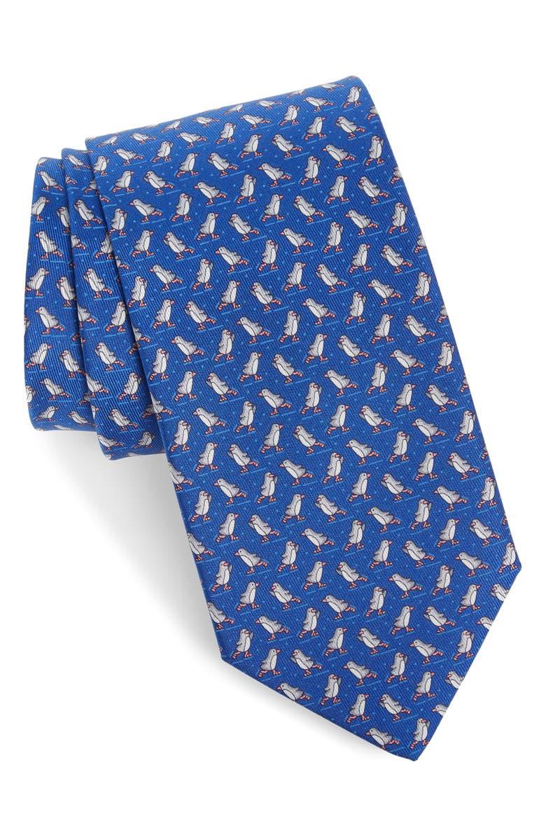 SALVATORE FERRAGAMO Penguin Print Silk Tie, Main, color, F. BLUETTE