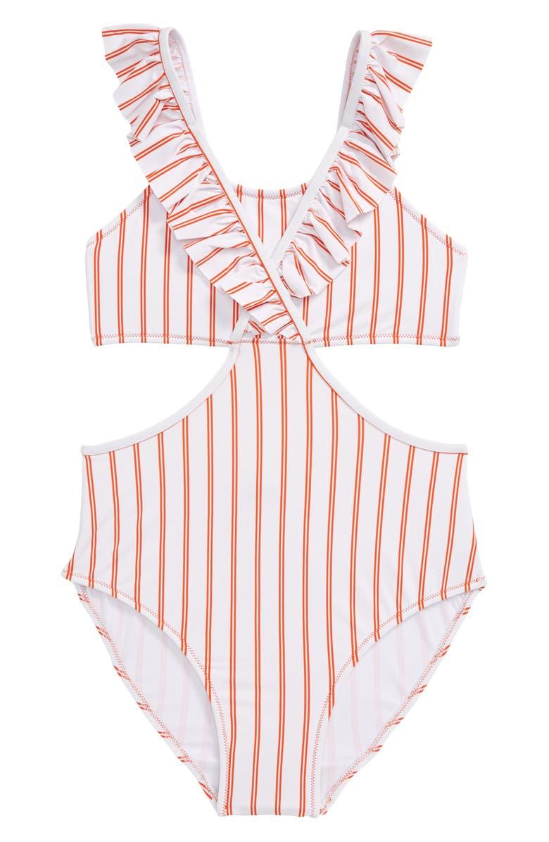 HABITUAL GIRL Habitual Ruffle Stripe One-Piece Swimsuit, Main, color, ORANGE