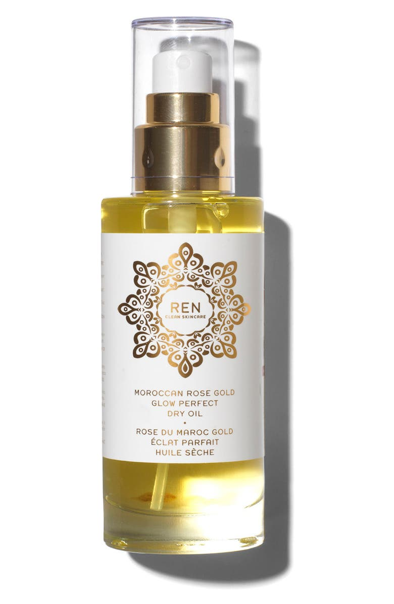 REN SPACE.NK.apothecary REN Moroccan Rose Gold Glow Perfect Dry Oil, Main, color, NO COLOR