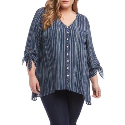 Plus Size Karen Kane Tie Sleeve Top, Blue