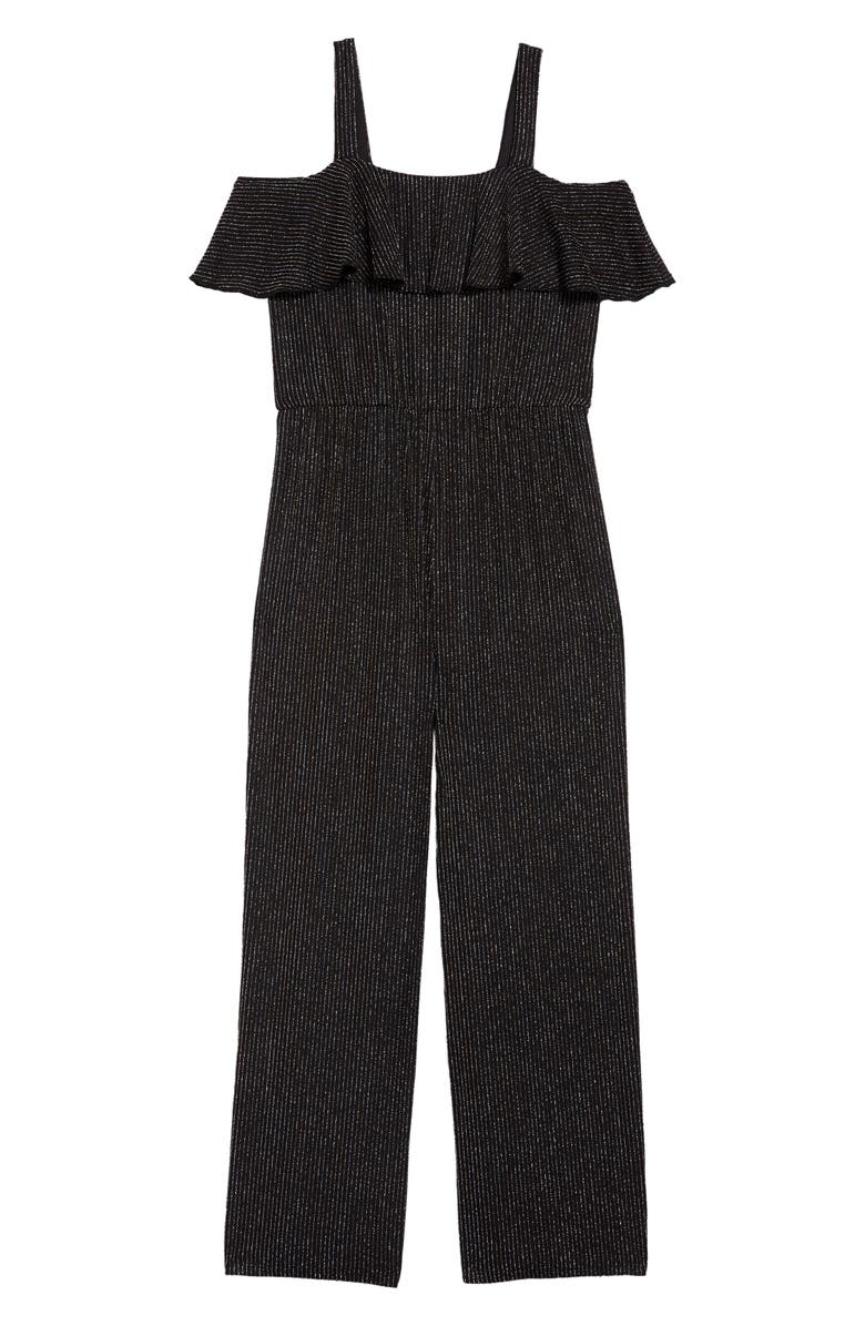 LOVE, NICKIE LEW Glitter Ruffle Jumpsuit, Main, color, BLACK