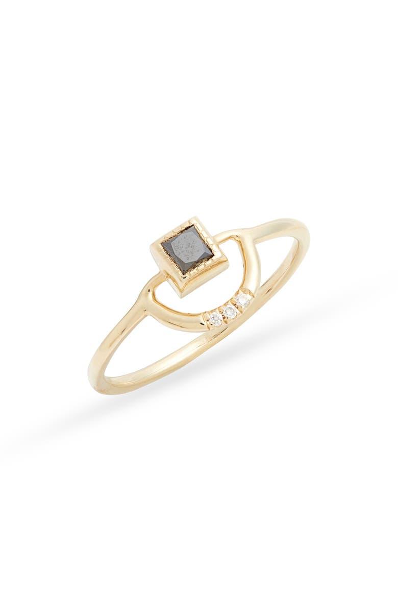JENNIE KWON DESIGNS Black Diamond Arch Ring, Main, color, YELLOW GOLD/ BLACK/ WHITE
