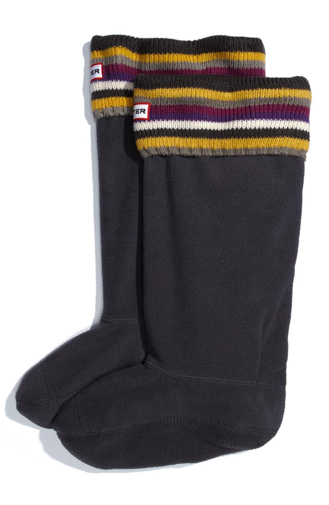 ,                             Tall Stripe Cuff Welly Socks,                             Main thumbnail 4, color,                             020