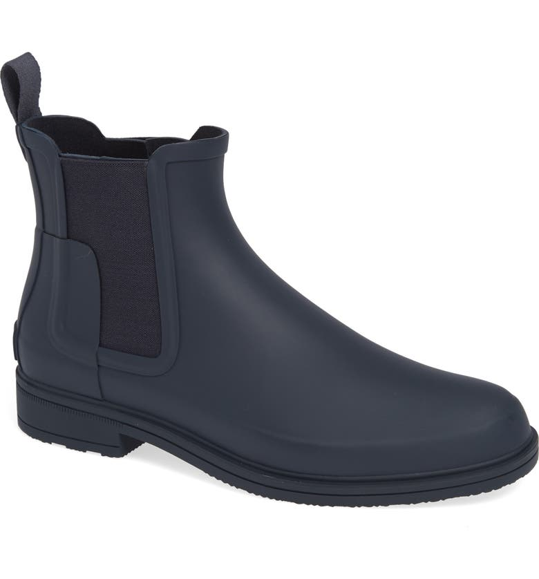 HUNTER Original Refined Waterproof Chelsea Boot, Main, color, NAVY RUBBER