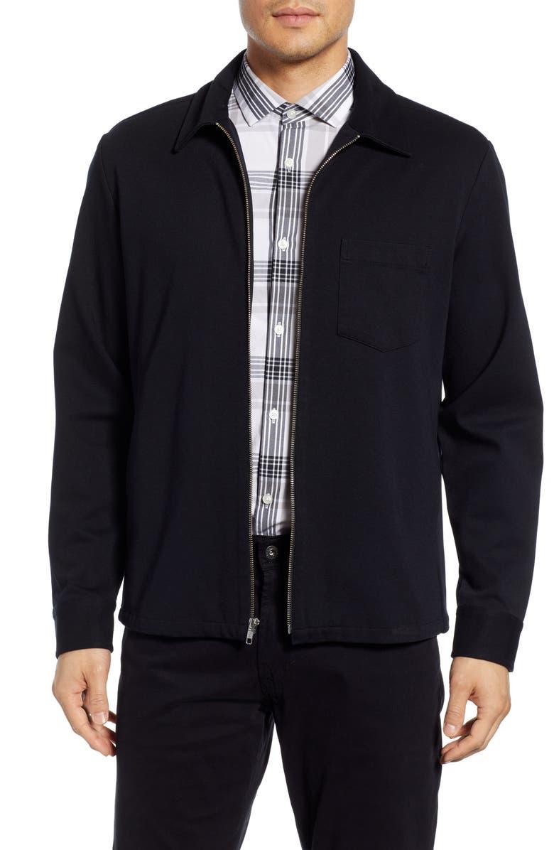 CALIBRATE Zip Front Shirt Jacket, Main, color, BLACK