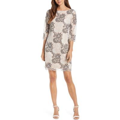 Petite Harper Rose Floral Lace Sheath Dress, Grey