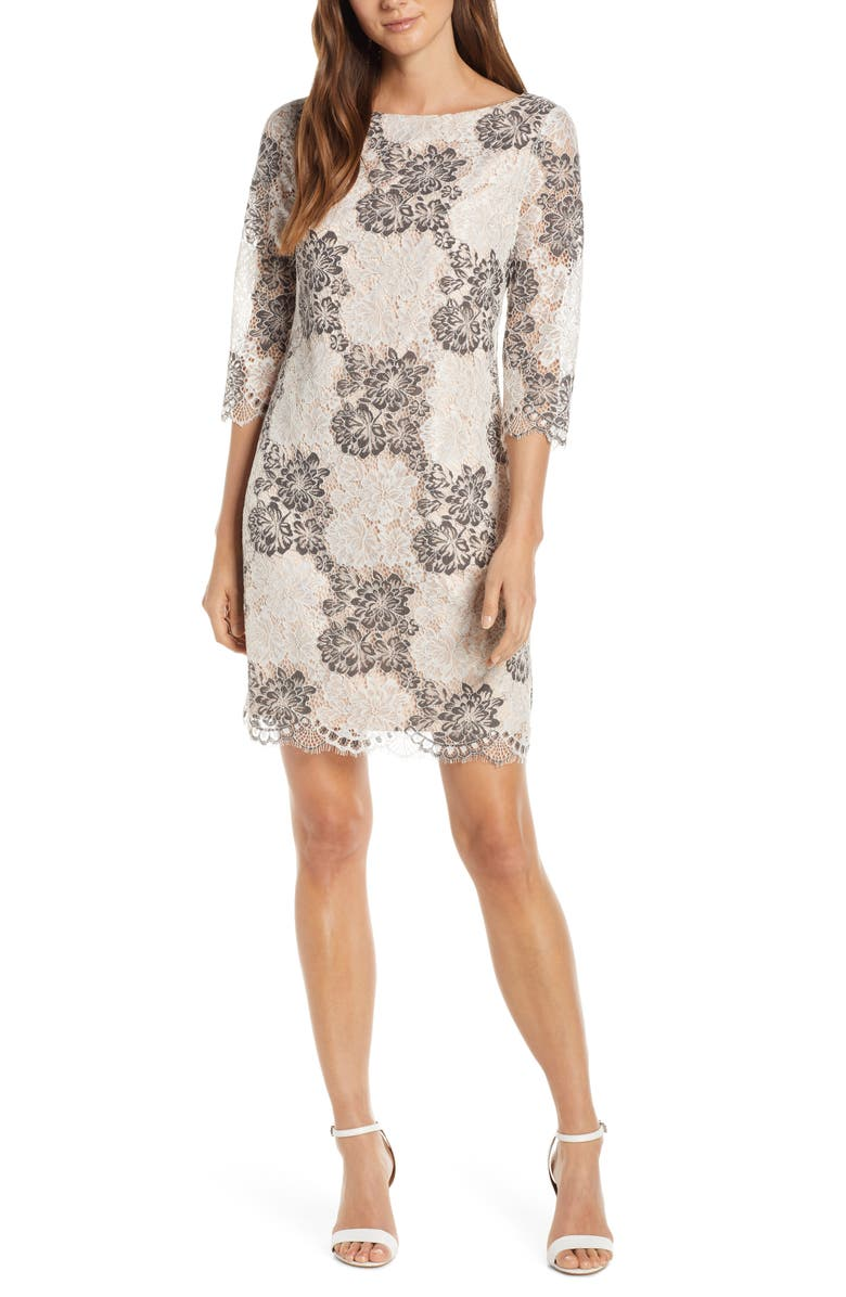 HARPER ROSE Floral Lace Sheath Dress, Main, color, 030