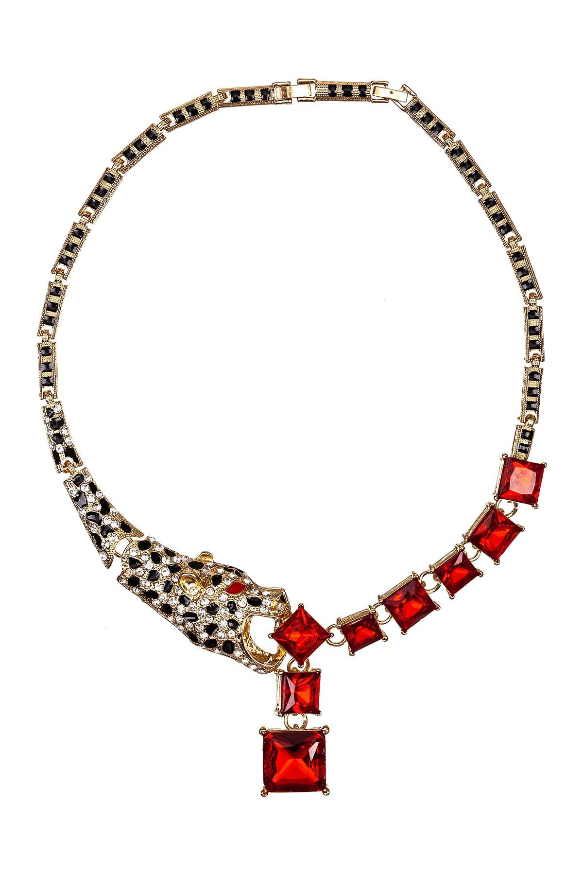 Image of Eye Candy Los Angeles Leopard Design Multi Color Crystal Necklace