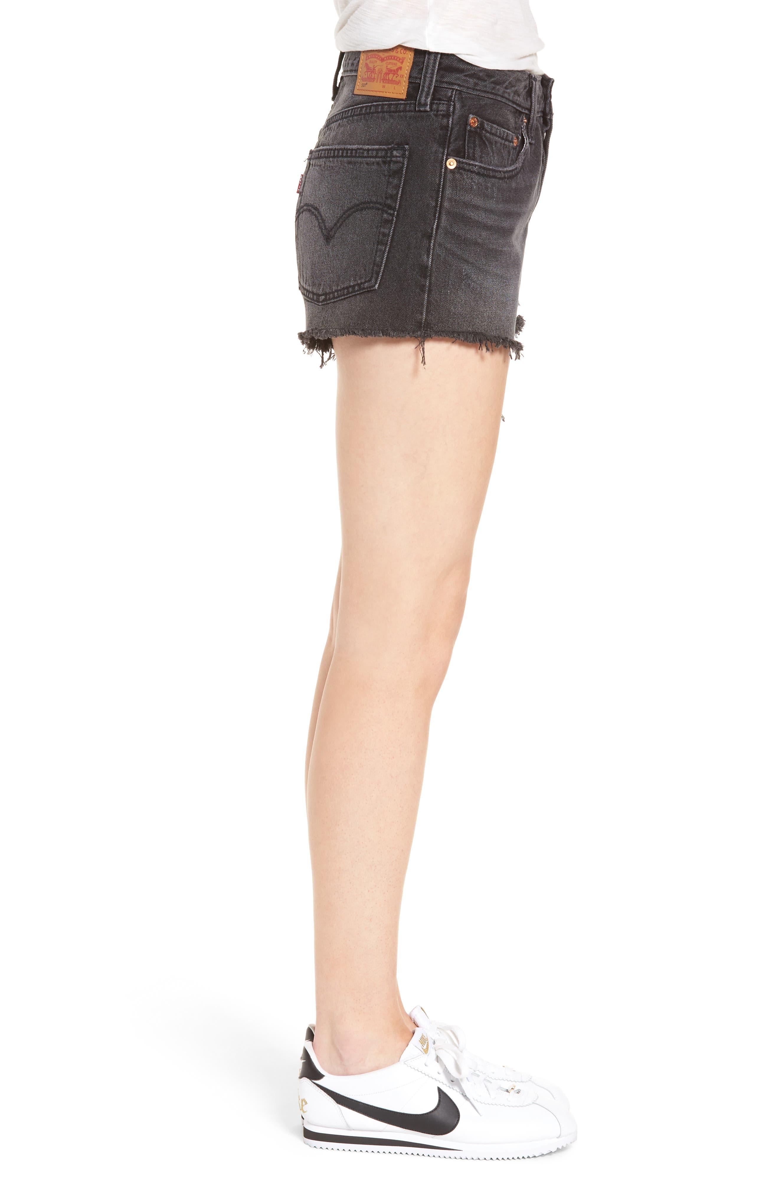 ,                             501<sup>®</sup> Cutoff Denim Shorts,                             Alternate thumbnail 3, color,                             TRASHED BLACK