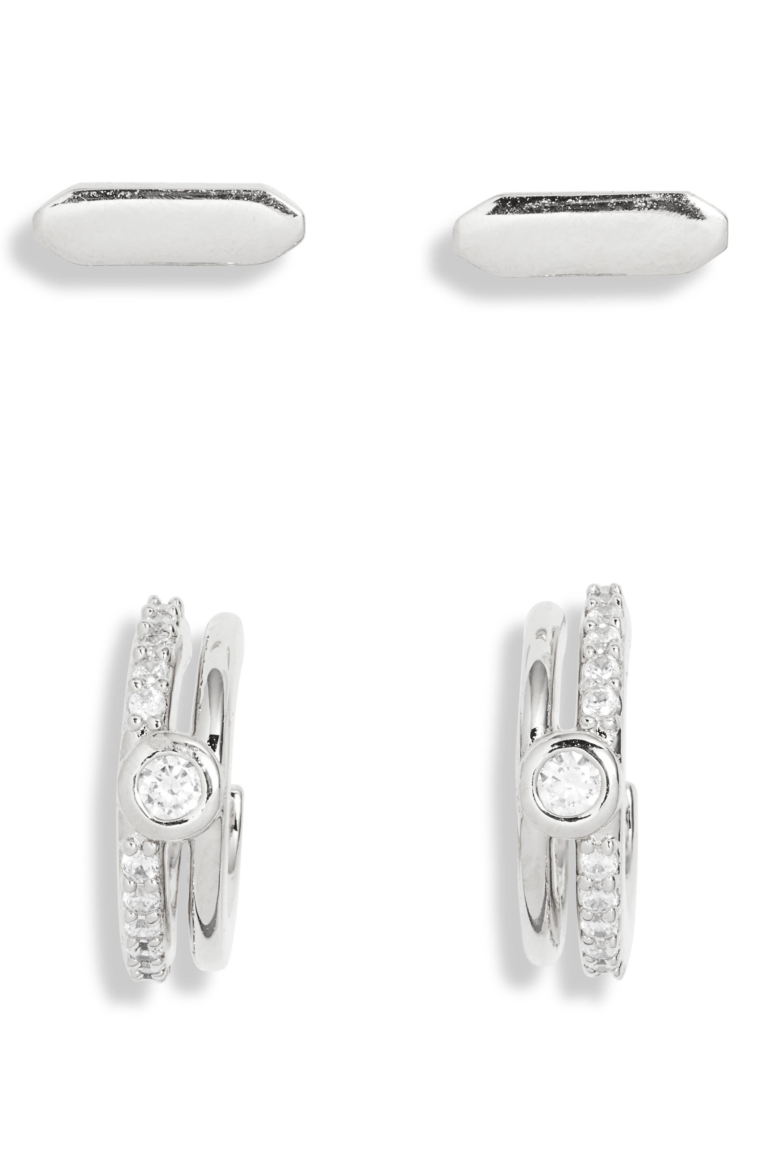 Wythe Cubic Zirconia Huggie Hoop & Stud Earrings