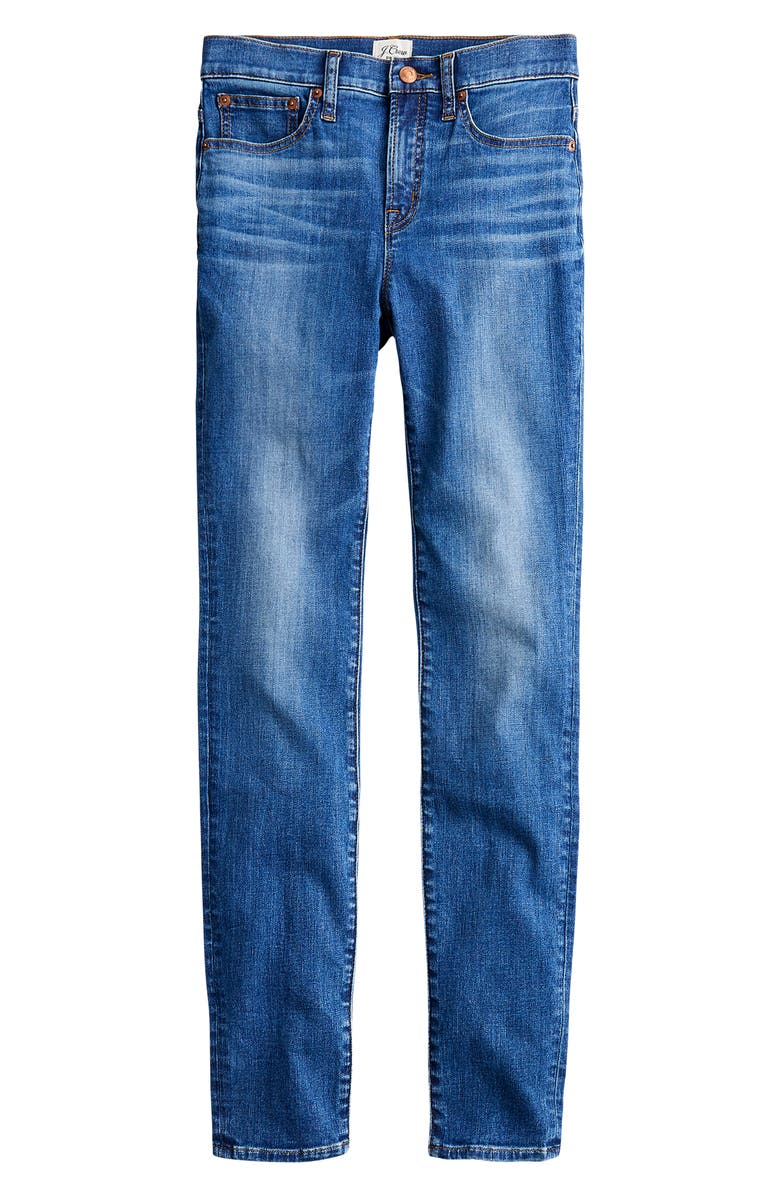 J.CREW High Rise Toothpick Jeans, Main, color, OCEAN BLUE WASH