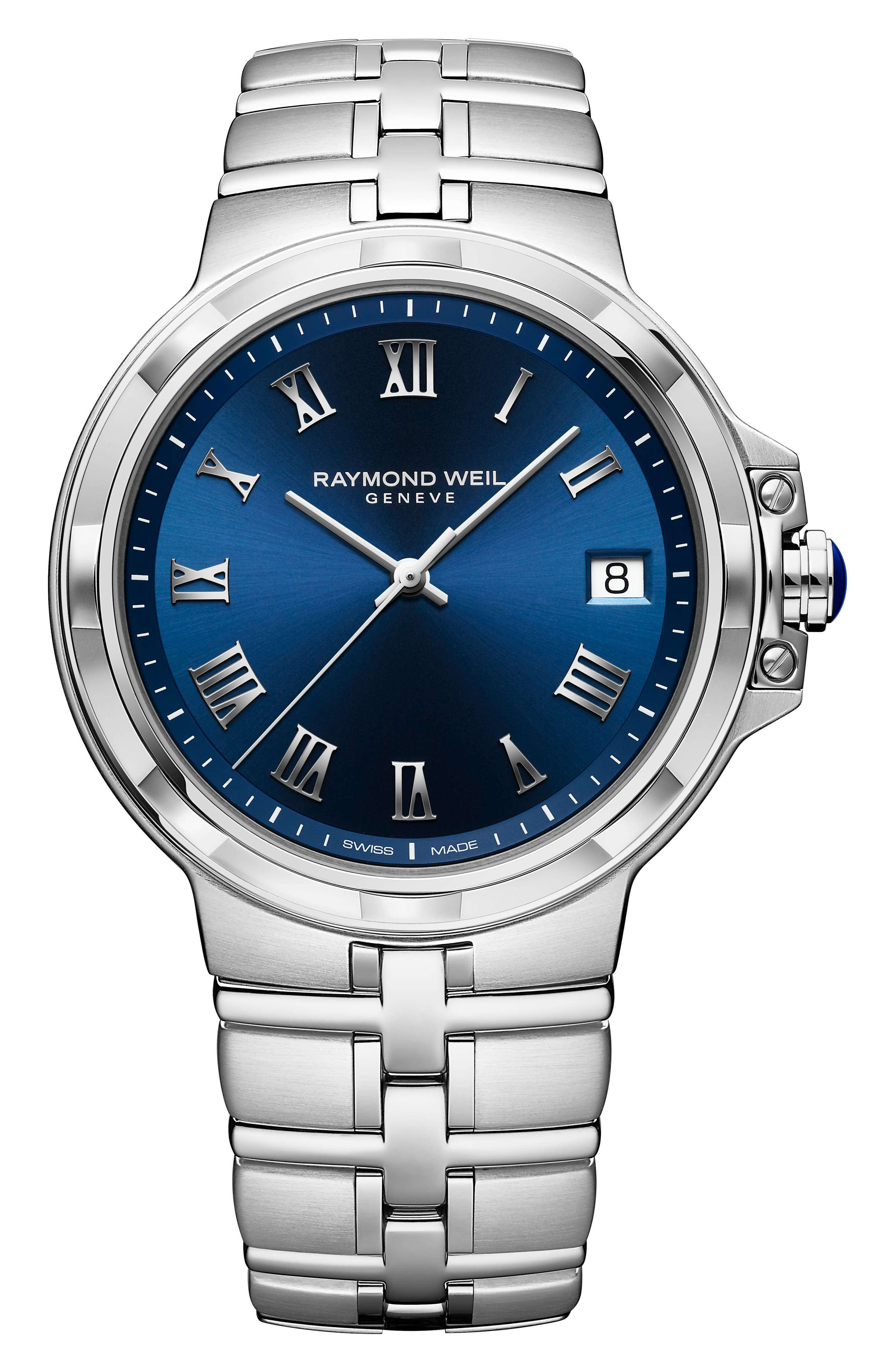 Parsifal Bracelet Watch, 40mm, Main, color, SILVER/ BLUE/ SILVER