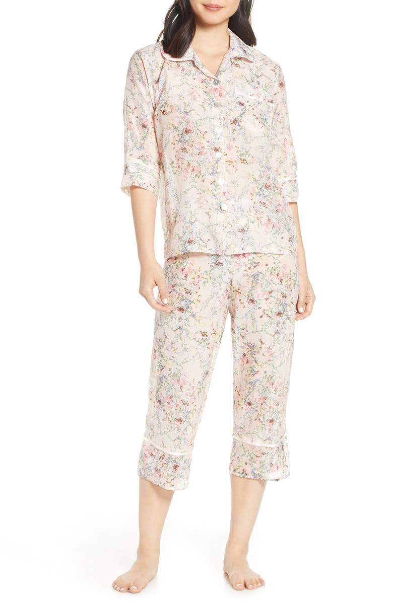 PAPINELLE Yolly Crop Cotton & Silk Pajamas, Main, color, 650
