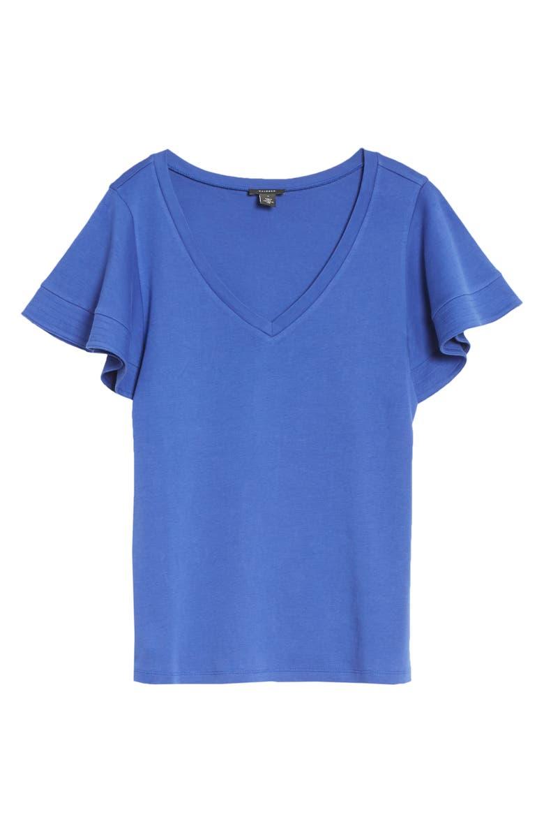 HALOGEN<SUP>®</SUP> Flutter Sleeve T-Shirt, Main, color, BLUE CLEMATIS