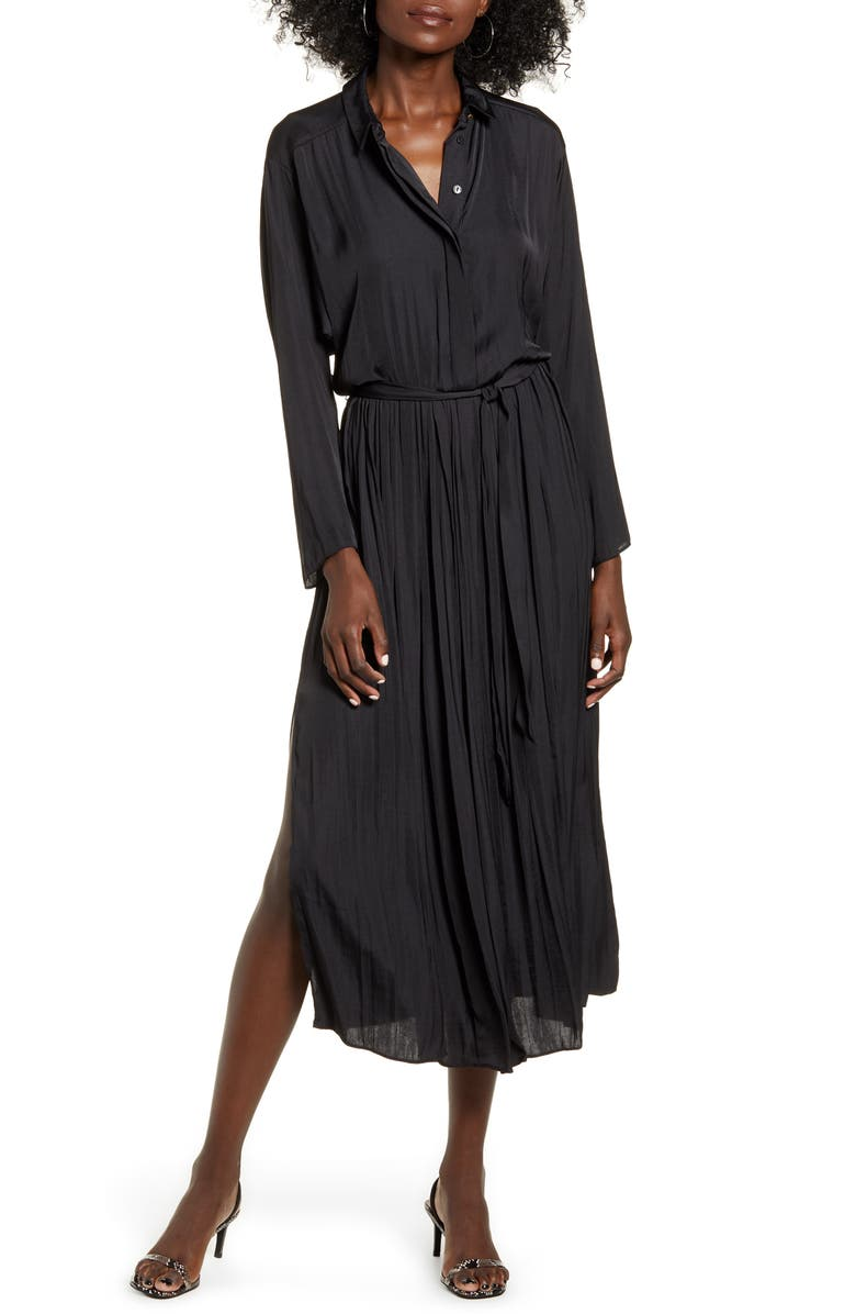 TOPSHOP Satin Pleated Shirtdress, Main, color, BLACK