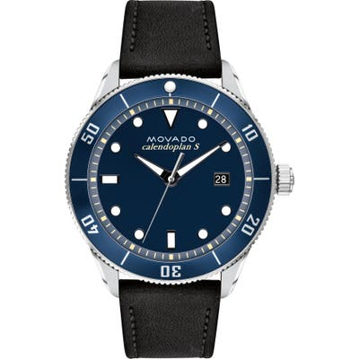Movado Heritage Calendoplan Leather Strap Watch,