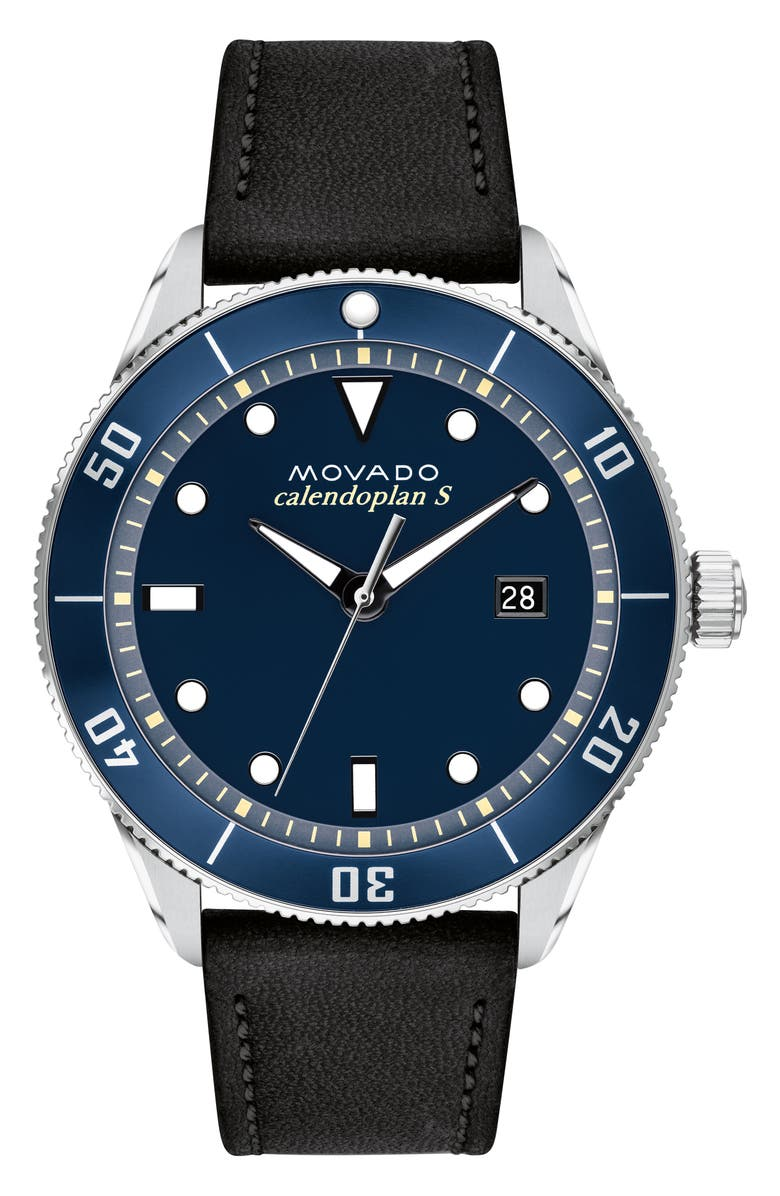 MOVADO Heritage Calendoplan Leather Strap Watch, 43mm, Main, color, BLACK/ BLUE/ SILVER