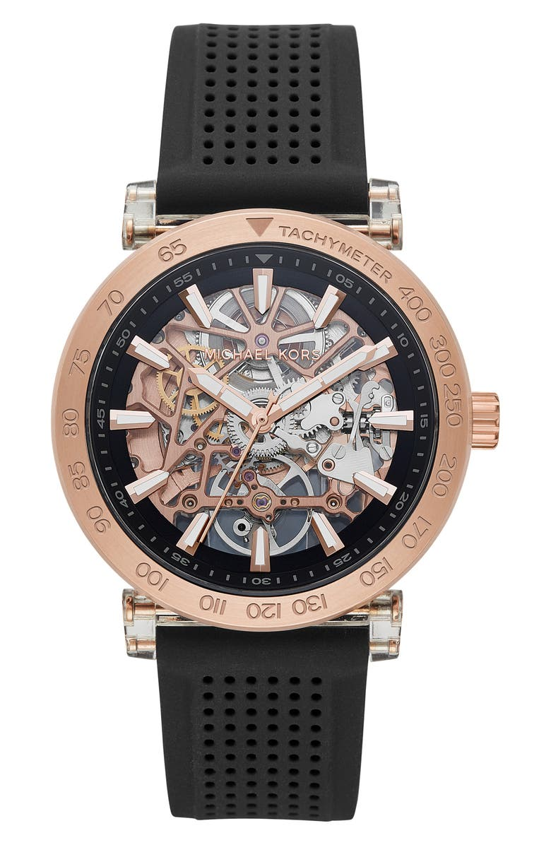 MICHAEL MICHAEL KORS Greer Skeleton Silicone Strap Watch, 43mm, Main, color, 001