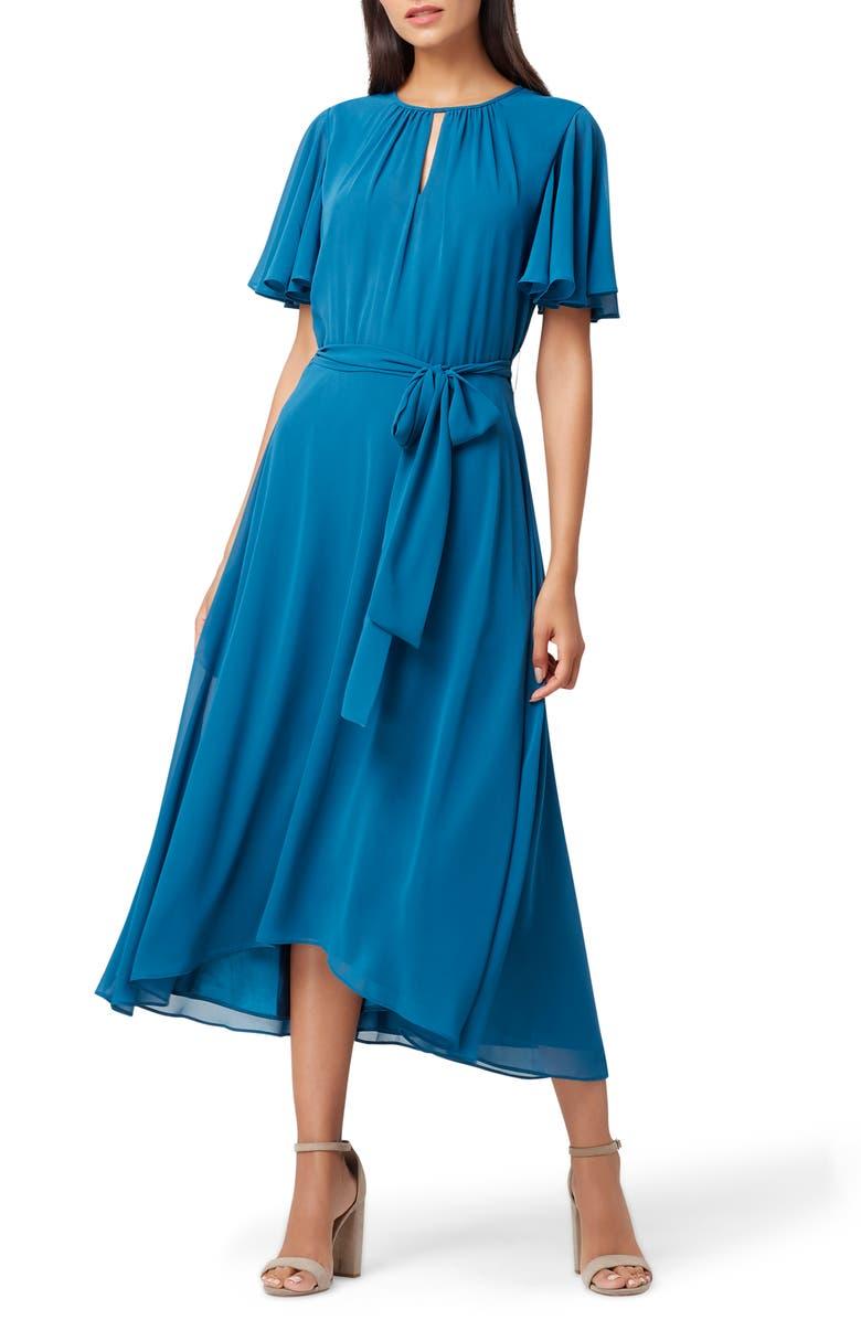 TAHARI Chiffon Midi Dress, Main, color, OCEAN BLUE