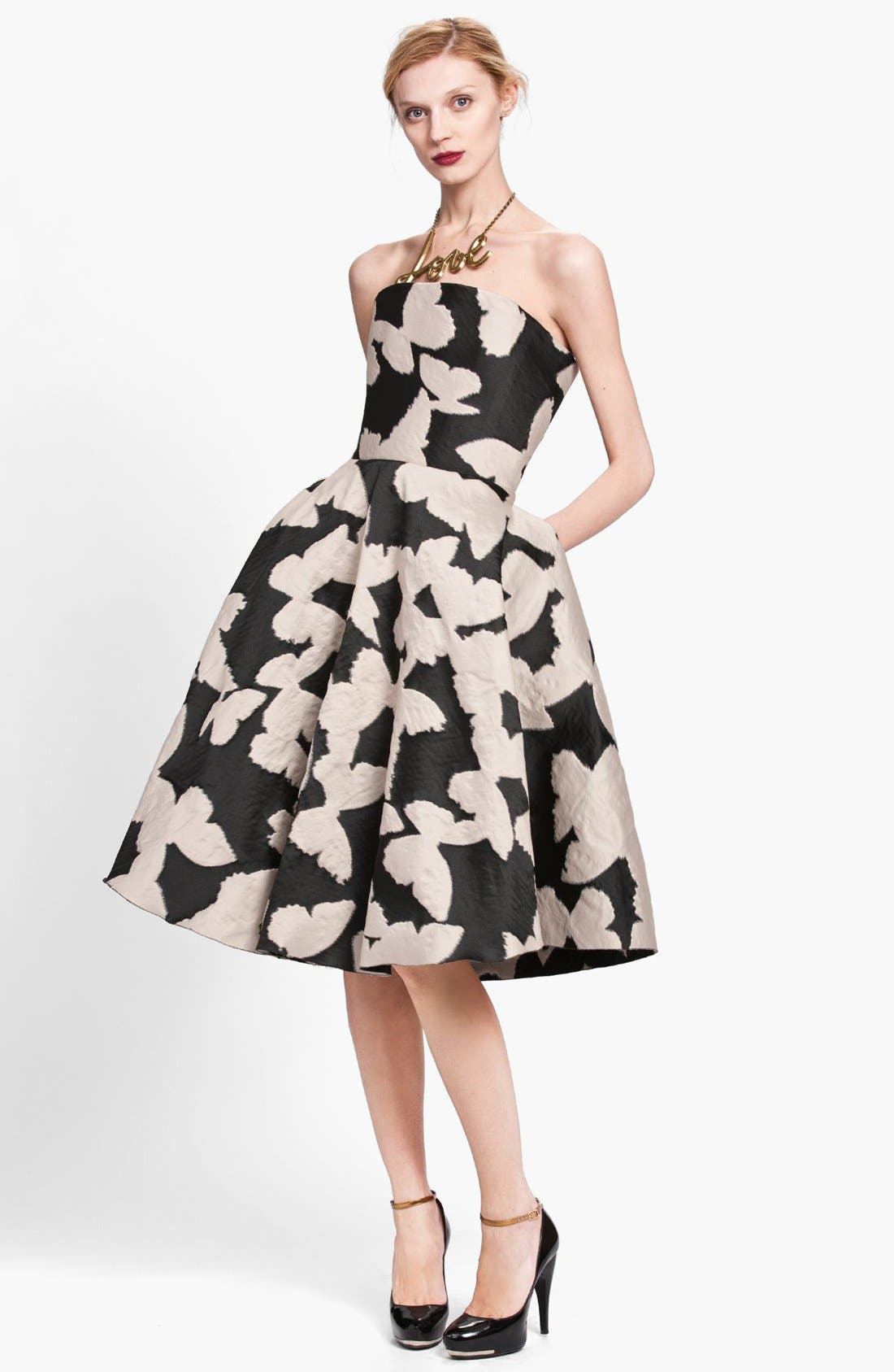,                             Butterfly Jacquard Strapless Dress,                             Main thumbnail 1, color,                             001