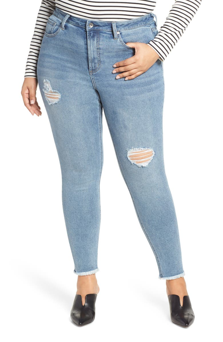 MAXSTUDIO INDIGO Perfect Vintage Core Ripped High Waist Skinny Jeans, Main, color, 423